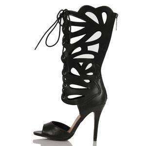 Shoes - Black Faux Leather Gladiator Knee High Heel Leann